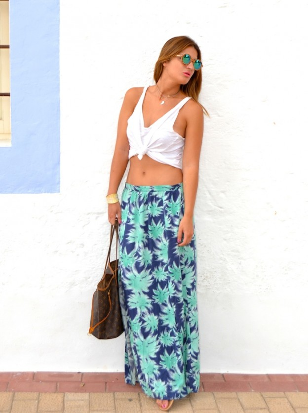 lonk skirt palms primark louis vuitton bag feler sunglasses Amarás la moda Ibiza Santa Gertrudis