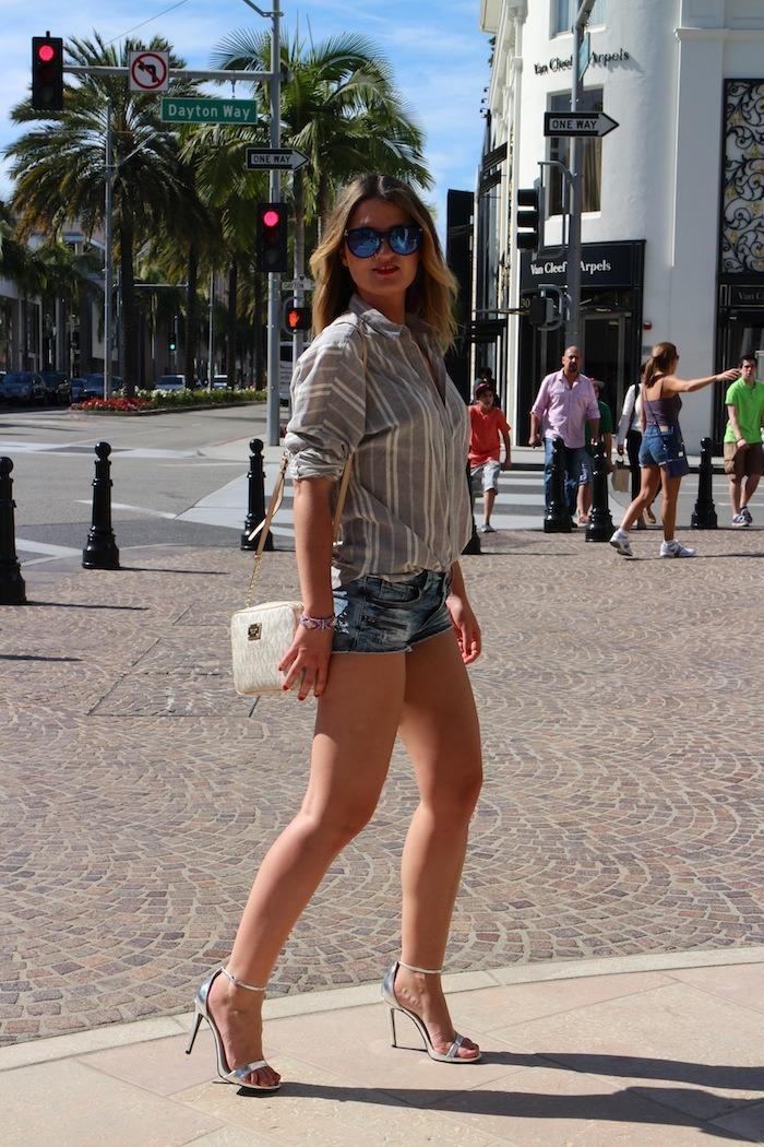 rodeodrive amarás la moda camisa de rayas sandalias plata zara michael kors bag 2
