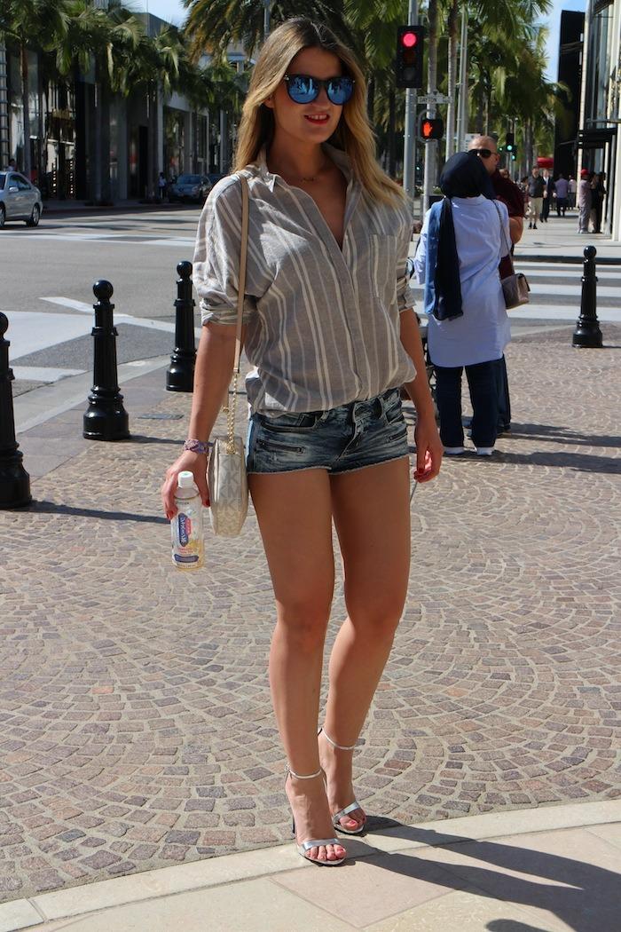 rodeodrive amarás la moda camisa de rayas sandalias plata zara michael kors bag