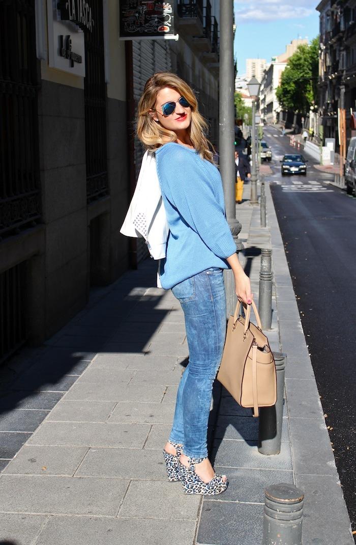 amaras la moda blue sweater venca wedges primark