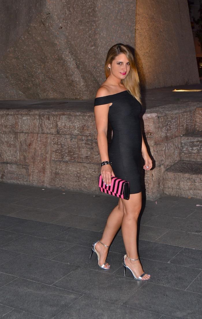 black dress primark clutch Compañía Fantástica silver sandals Zara Amarás la moda