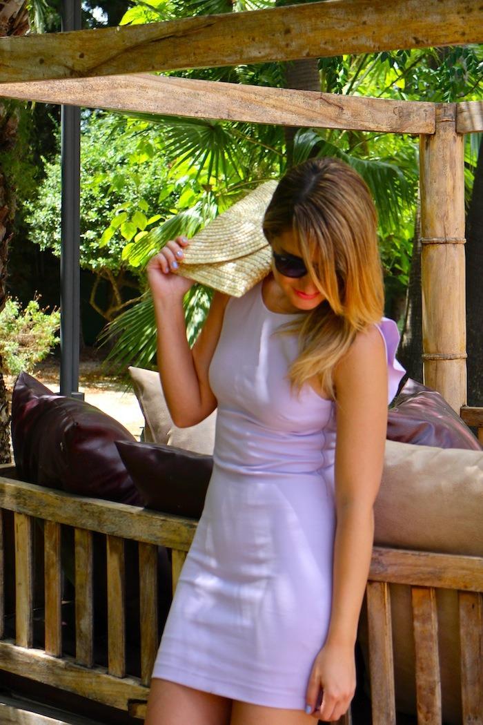 vestido morado zara espalda volantes amaras la moda sandalias doradas suiteblanco rayban sunnies 3