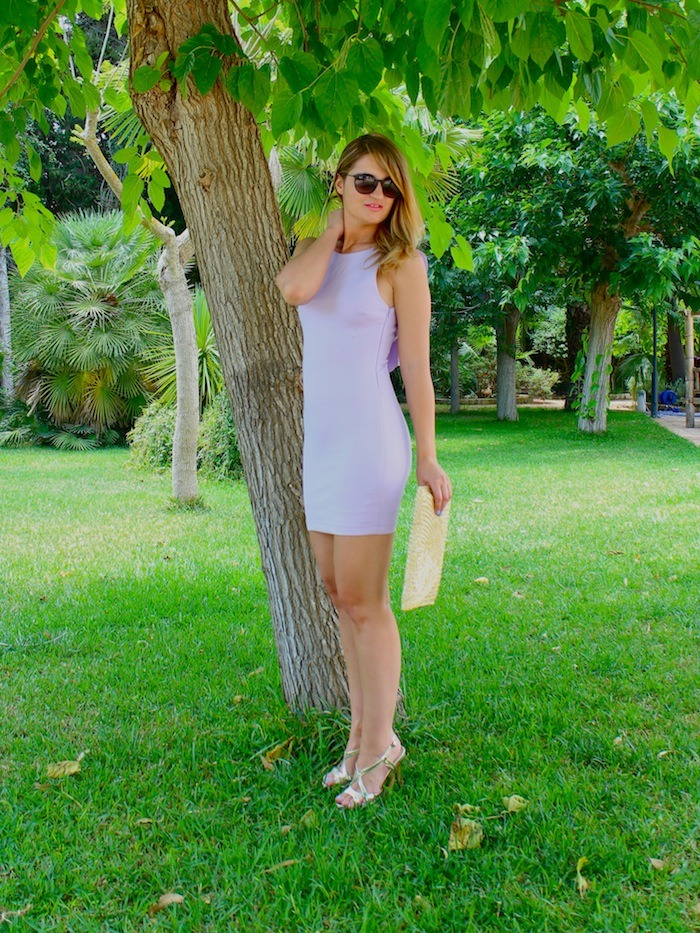 vestido morado zara espalda volantes amaras la moda sandalias doradas suiteblanco rayban sunnies 7