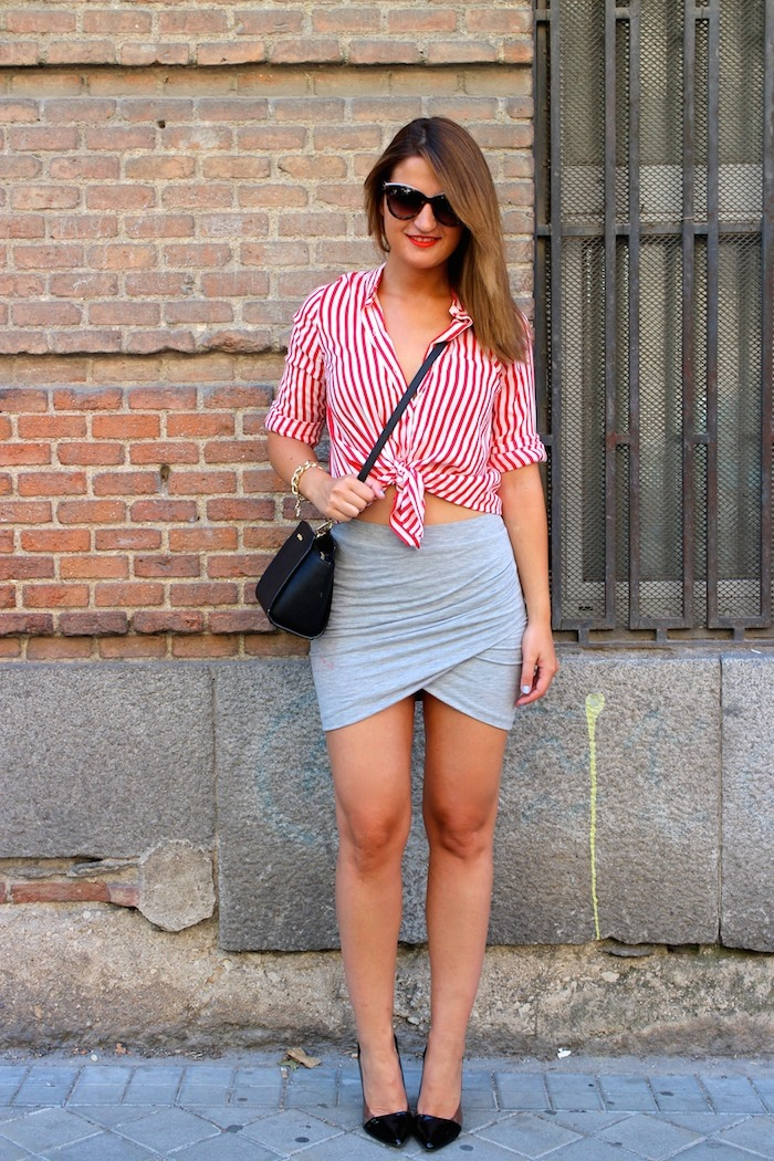 camisa rayas roja blanza zara falda cruzada amaras la moda michael kors bag. 6