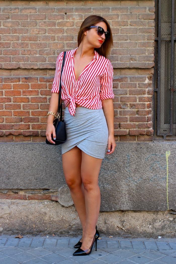 camisa rayas roja blanza zara falda cruzada amaras la moda michael kors bag5