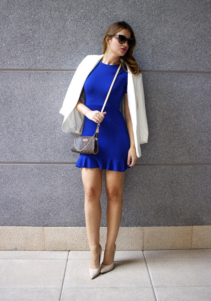 fashion pills dress blue blazer h&m chloe borel shoes pochette eva louis vuitton amaras la moda 3