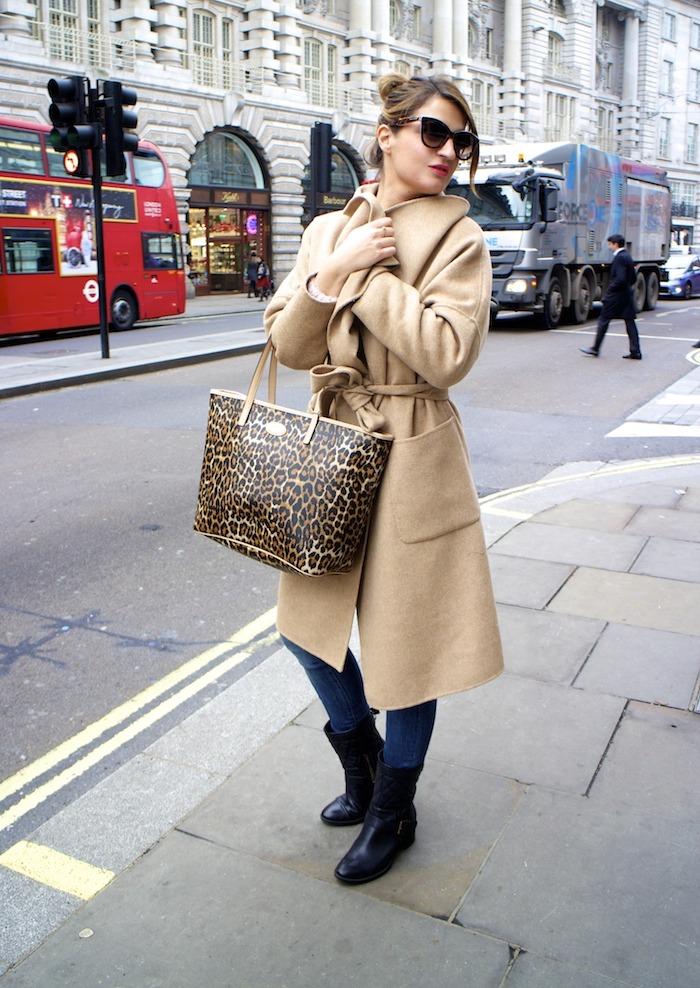 London camel coat Zara coach bag leopard Clarks shoes 3