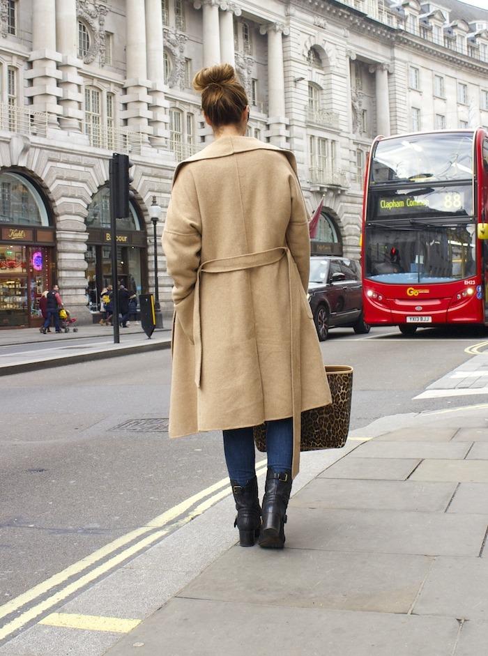 London camel coat Zara coach bag leopard Clarks shoes 5
