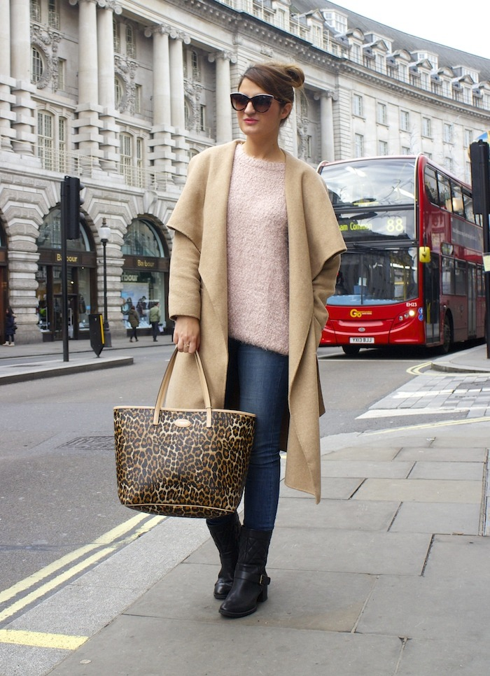 London camel coat Zara coach bag leopard Clarks shoes 6