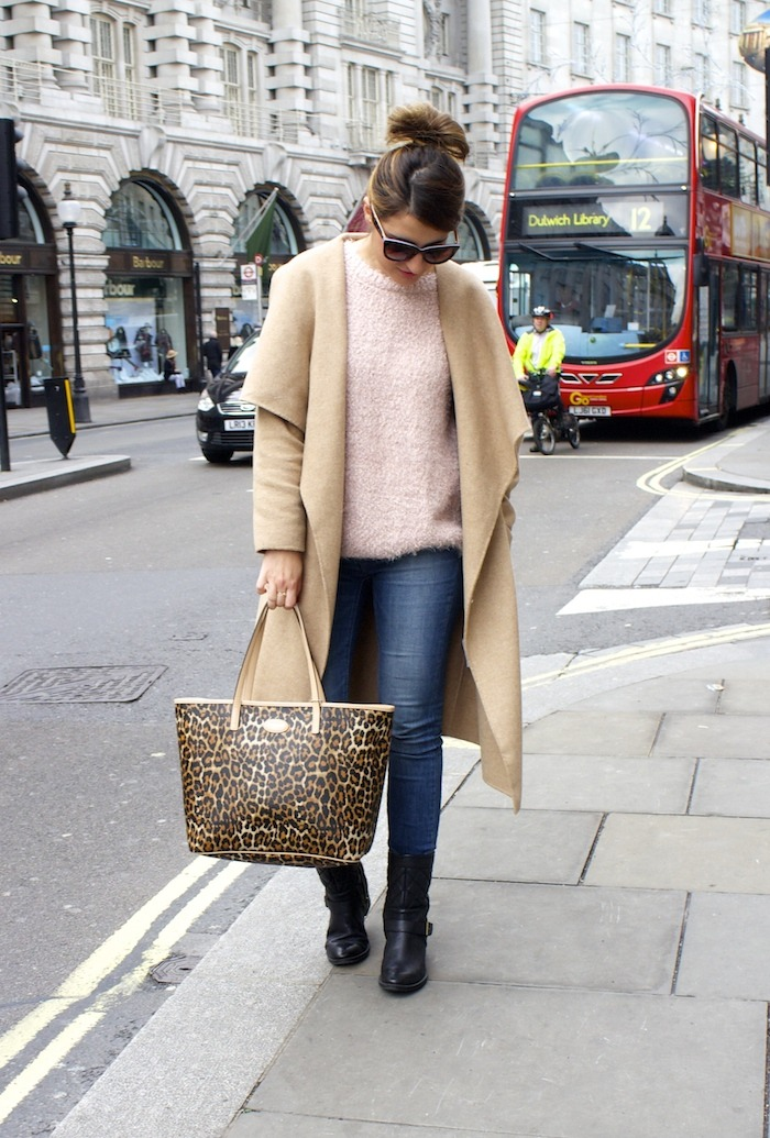 London camel coat Zara coach bag leopard Clarks shoes