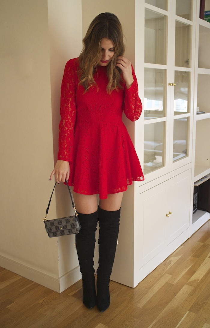 red lace dress amaras la moda loewe bag 2