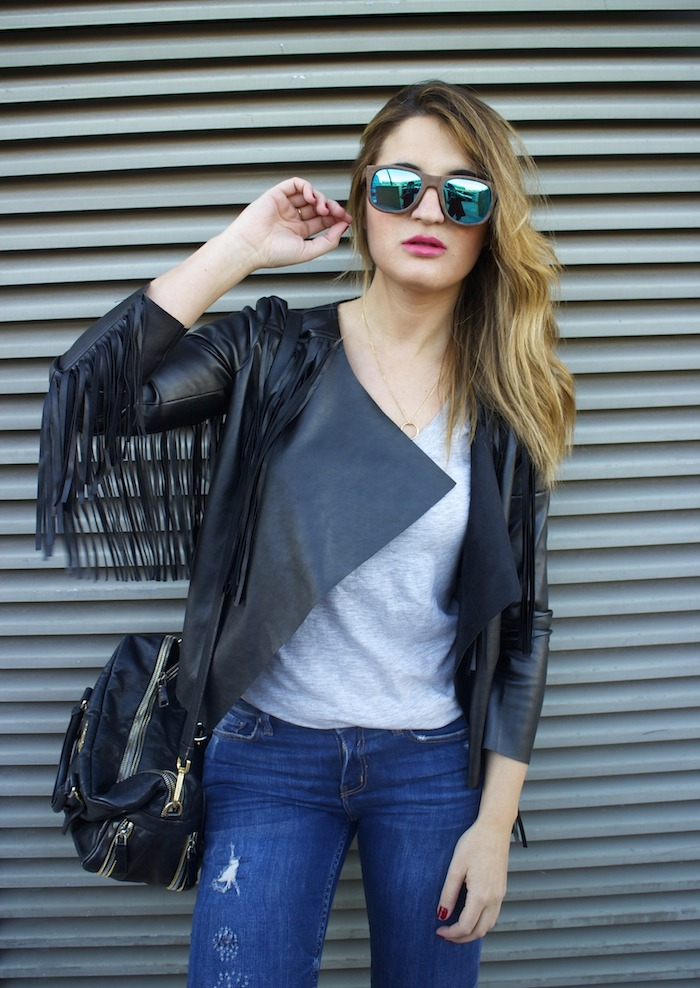 boohoo fringed jacket Prada bag Zara jeans shoes hysteresisofficial sunnies amaras la moda 2