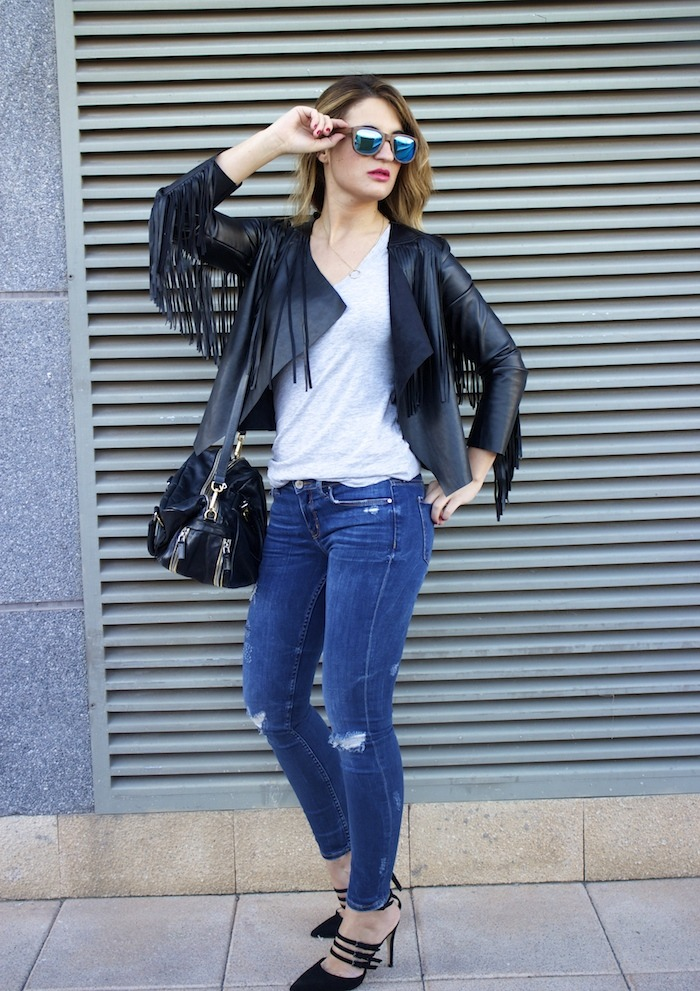 boohoo fringed jacket Prada bag Zara jeans shoes hysteresisofficial sunnies amaras la moda 7