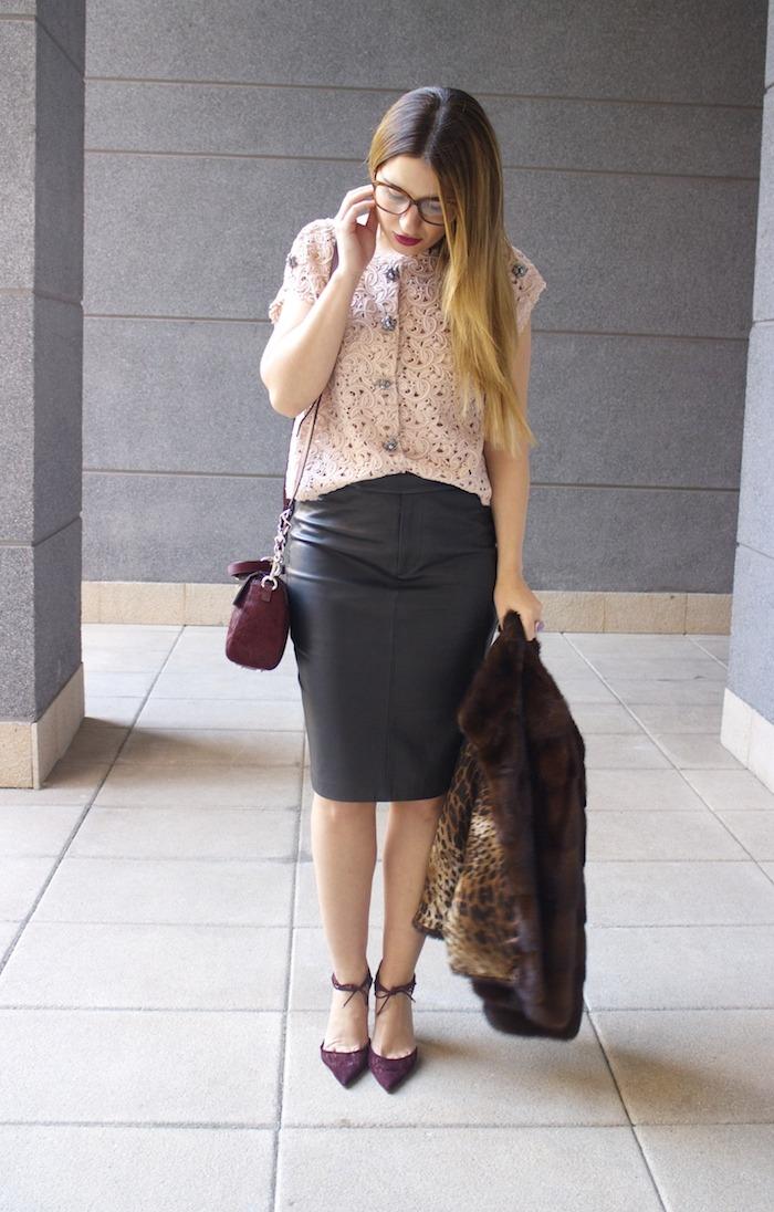 ralph lauren leather skirt dolce and gabanna top jimmy choo shoes karen millen bag 7