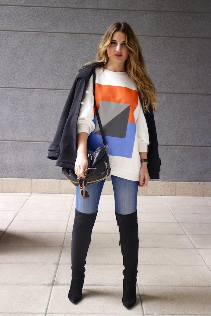 sudadera Zara abstracta botas pilar burgos prada bag amaras la moda 1