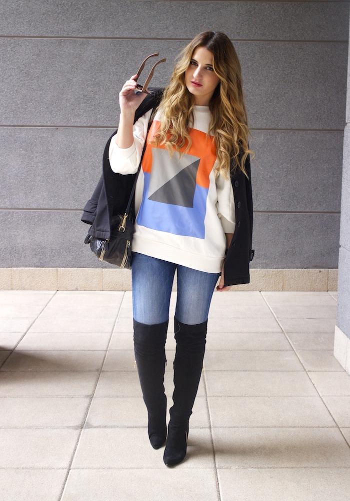 sudadera Zara abstracta botas pilar burgos prada bag amaras la moda 5