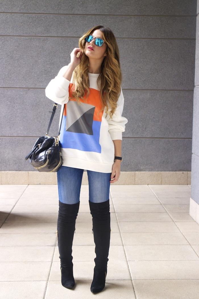 sudadera Zara abstracta botas pilar burgos prada bag amaras la moda 7