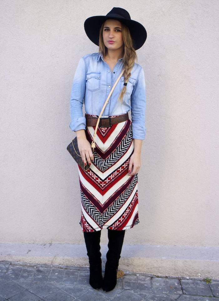 tribal skirt denim shirt boots louis vuitton bag amaras la moda 3