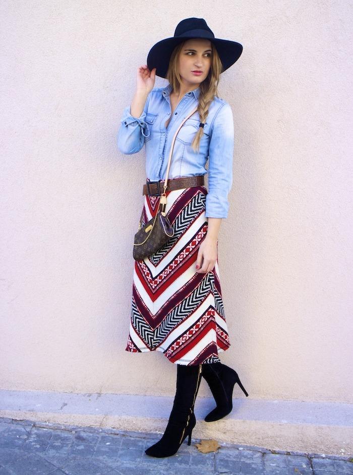 tribal skirt denim shirt boots louis vuitton bag amaras la moda 5