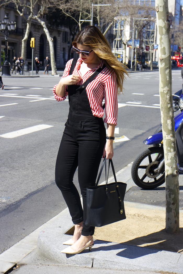 peto camisa rayas zara michael kors bag barcelona amaras la moda 3