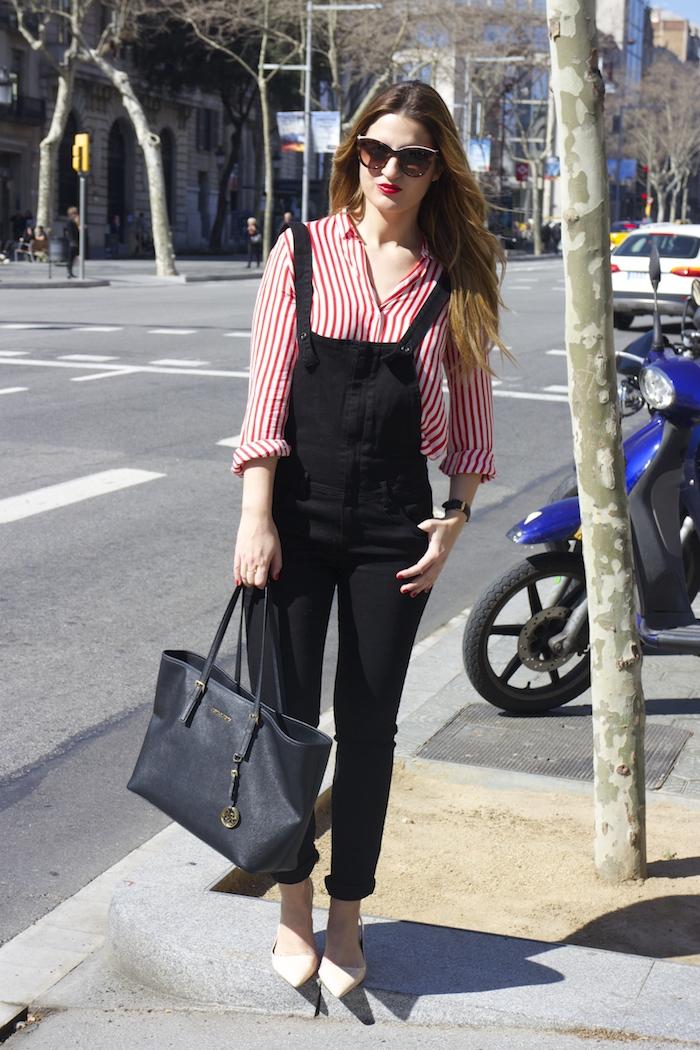 peto camisa rayas zara michael kors bag barcelona amaras la moda 5