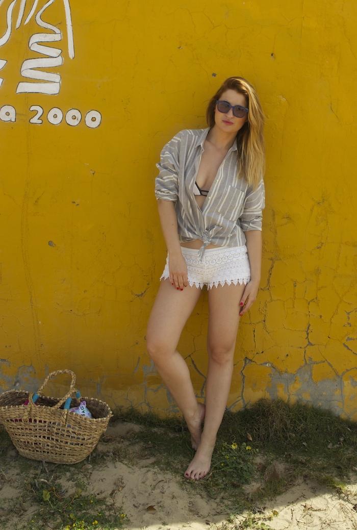 cadiz holidays crochet shorts Zara beach amaras la moda. 3