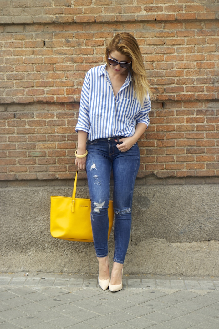 striped blouse michael kors bag chloe borel shoes 2