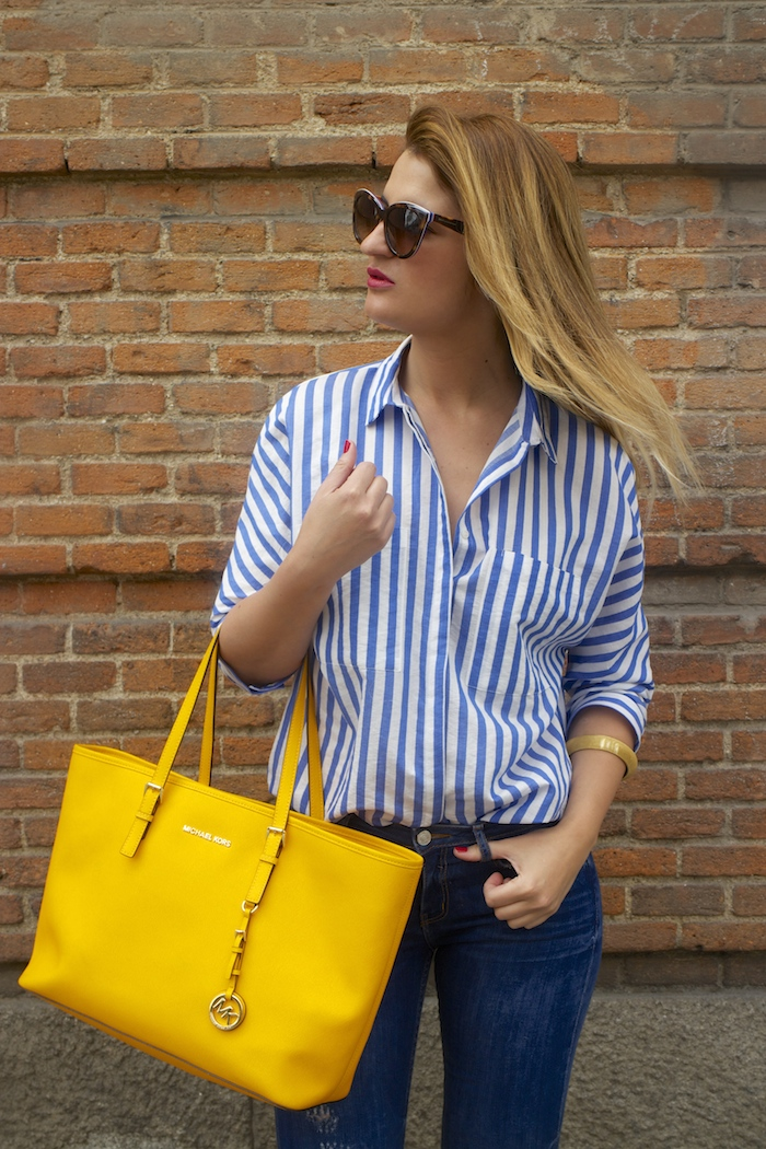 striped blouse michael kors bag chloe borel shoes 3