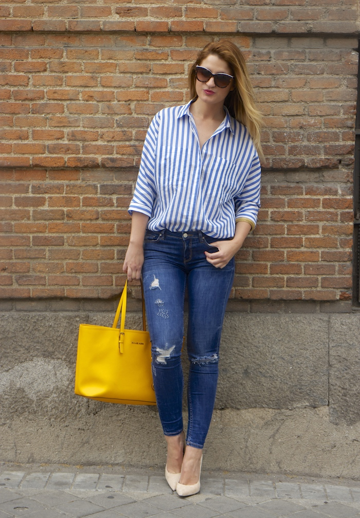 striped blouse michael kors bag chloe borel shoes 4
