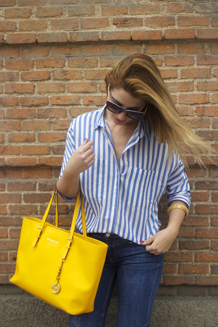 striped blouse michael kors bag chloe borel shoes 8