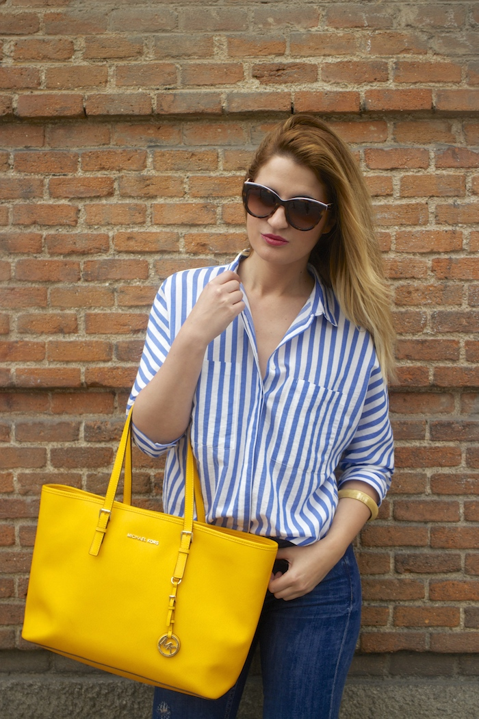 striped blouse michael kors bag chloe borel shoes