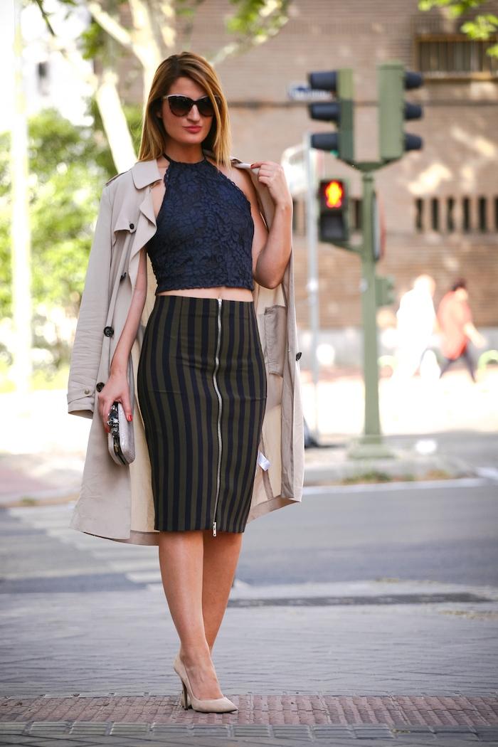 Stripped Skirt amaras la moda chloe borel shoes la redoutte trench