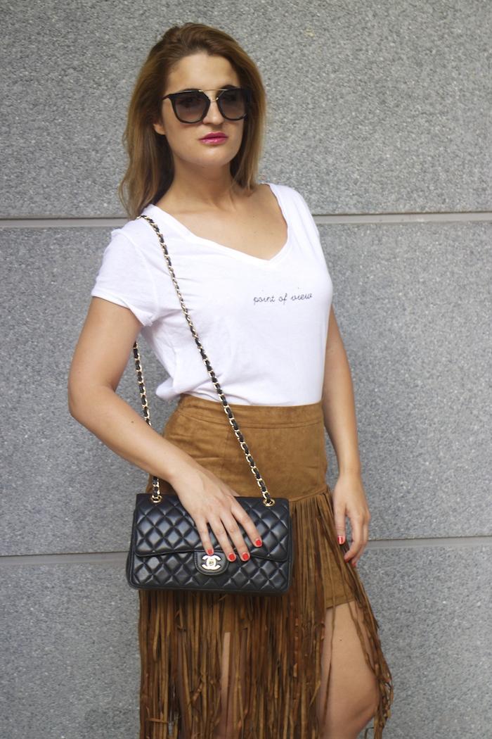 JustFab falda flecos sandalias chanel bag Prada sunnies amaras la moda Paula Fraile 4