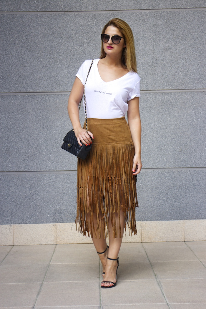 JustFab falda flecos sandalias chanel bag Prada sunnies amaras la moda Paula Fraile 5