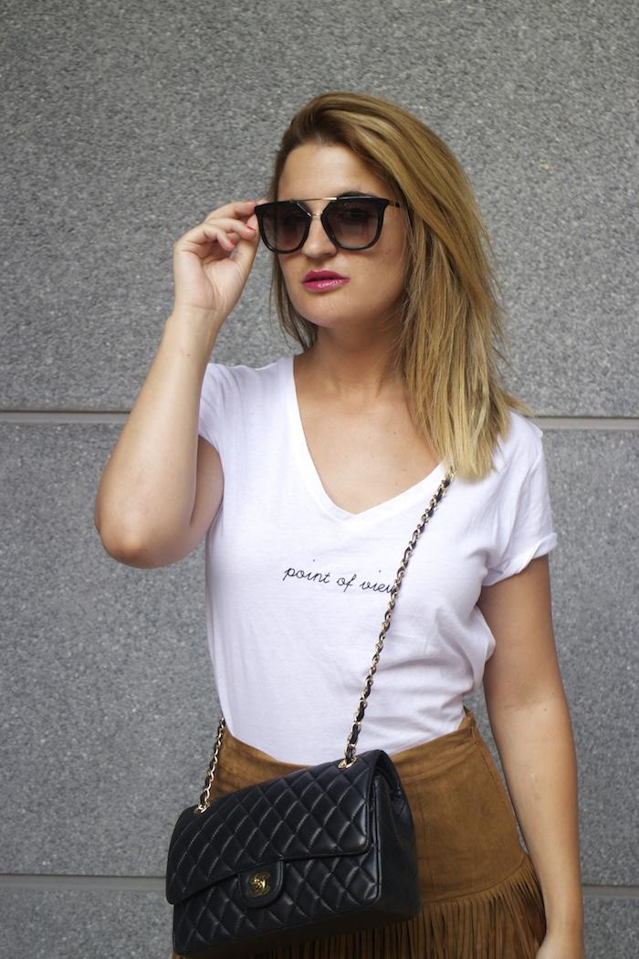 JustFab falda flecos sandalias chanel bag Prada sunnies amaras la moda Paula Fraile 6