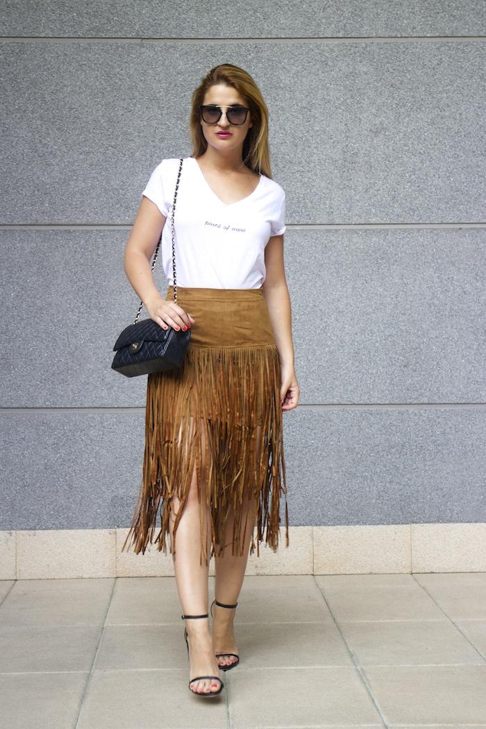JustFab falda flecos sandalias chanel bag Prada sunnies amaras la moda Paula Fraile 7