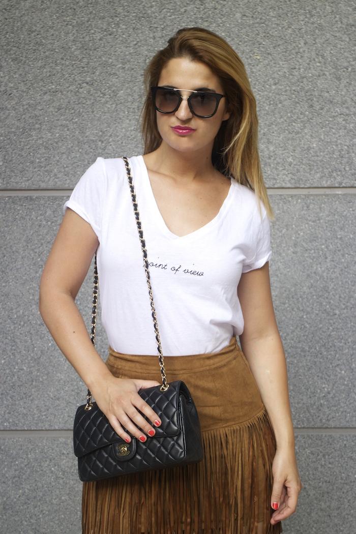 JustFab falda flecos sandalias chanel bag Prada sunnies amaras la moda Paula Fraile  8