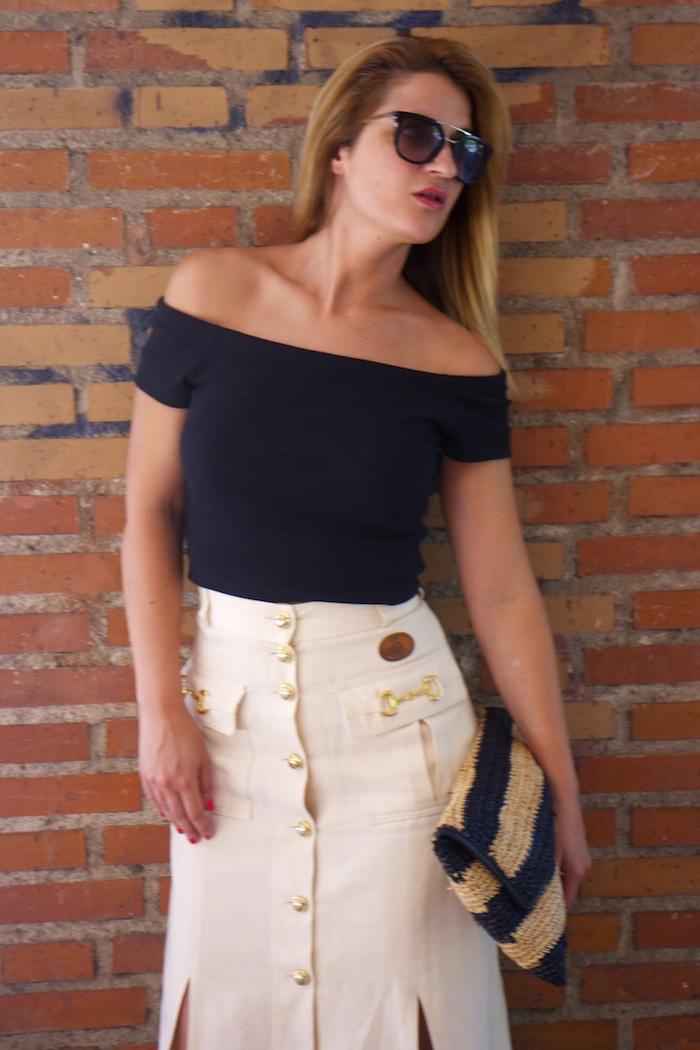 amaras la moda falda vintage castañer cuñas maje cuñas Paula Fraile Prada sunnies 3