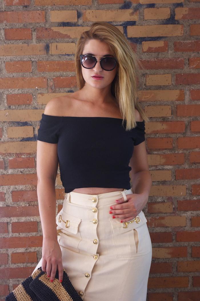 amaras la moda falda vintage castañer cuñas maje cuñas Paula Fraile Prada sunnies