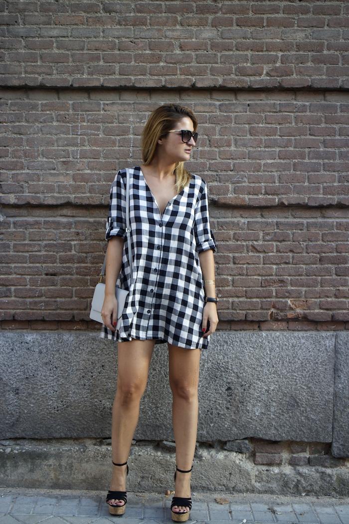 vestido cuadros sandalias cuña justfab ecco shoes bag amaras la moda Paula Fraile 3