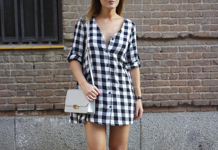 vestido cuadros sandalias cuña justfab ecco shoes bag amaras la moda Paula Fraile 5