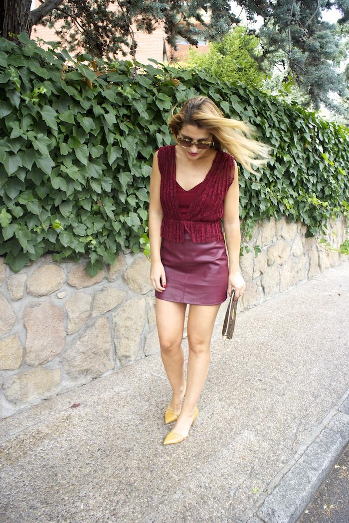 vestido zara encaje burgundy amaras la moda louis vuitton bag paula fraile 3