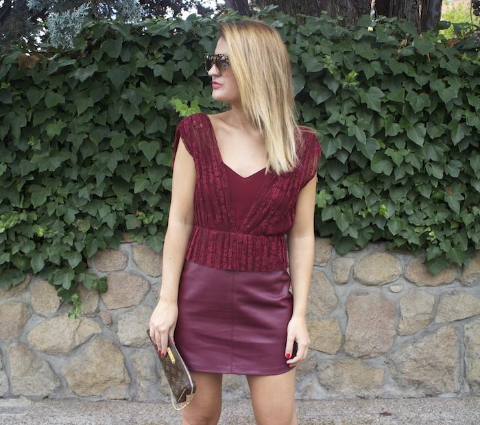 vestido zara encaje burgundy amaras la moda louis vuitton bag paula fraile 6