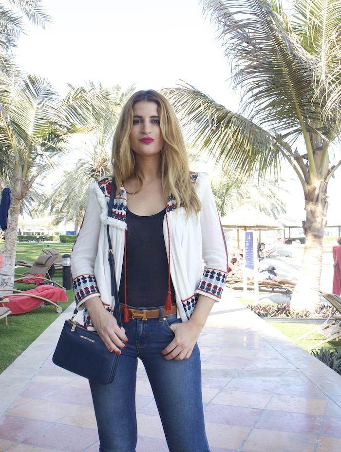 hermes belt michael kors bag zara jacket abu dhabi rotana beach amaras la moda  Paula Fraile