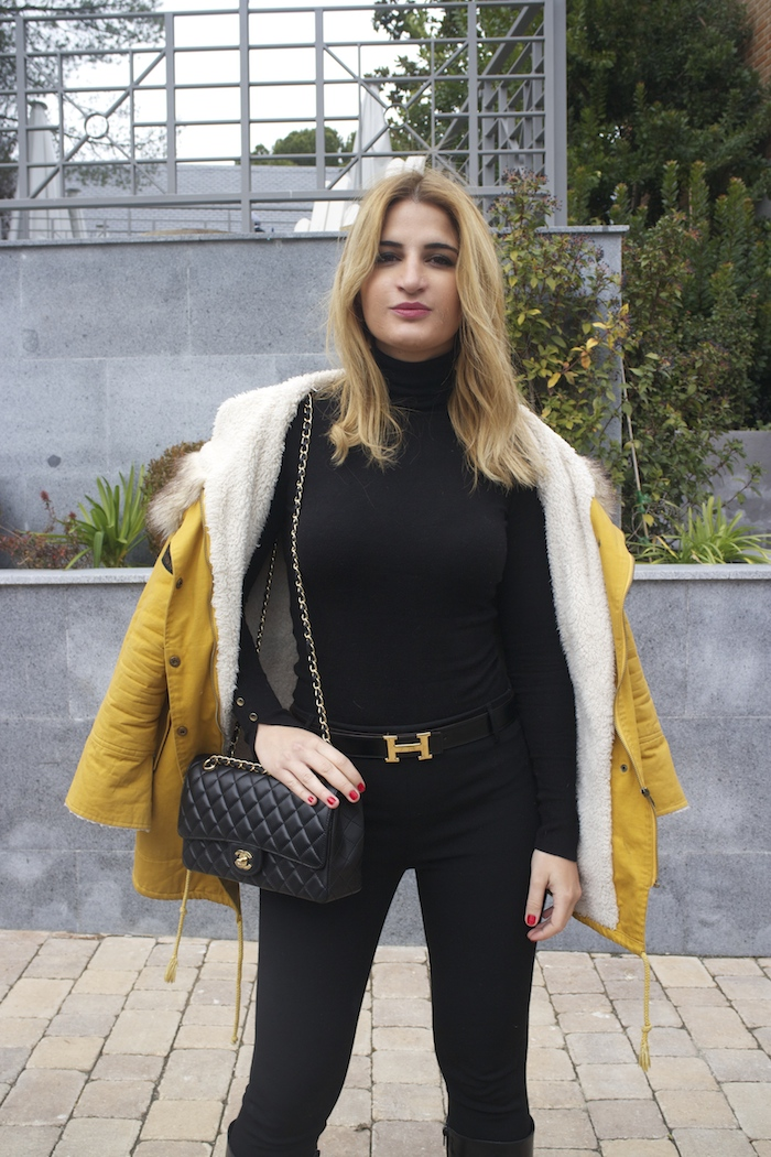 hermes belt sheinside parka chanel bag pilar burgos boots Amaras la moda Paula Fraile5