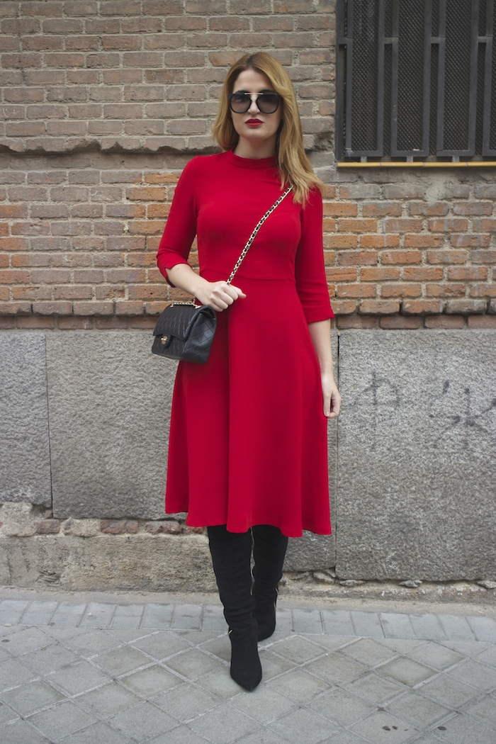 red dress zara chanel bag prada sunnies amaras la moda Paula Fraile6