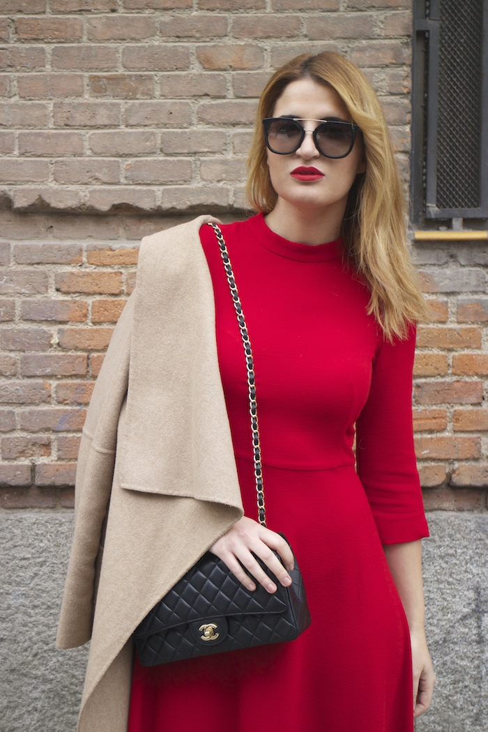 red dress zara chanel bag prada sunnies amaras la moda Paula Fraile7