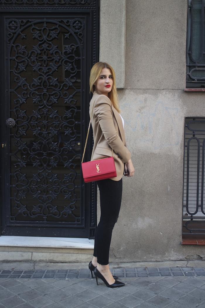 yves saint laurent bag camel blazer zara amaras la moda Paula Fraile3
