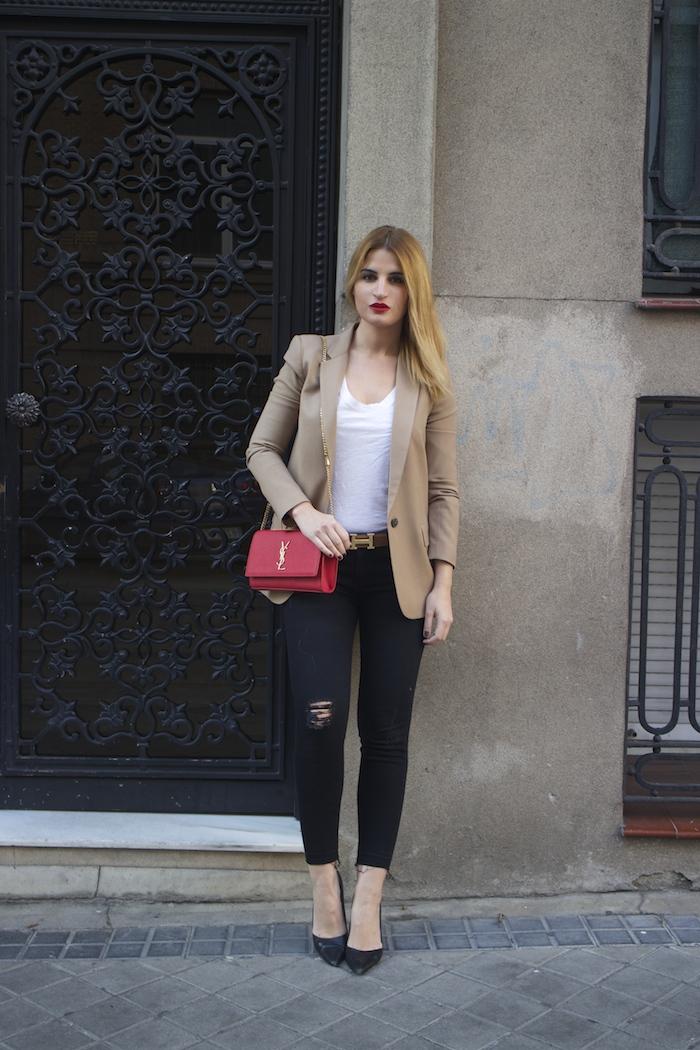 yves saint laurent bag camel blazer zara amaras la moda Paula Fraile5