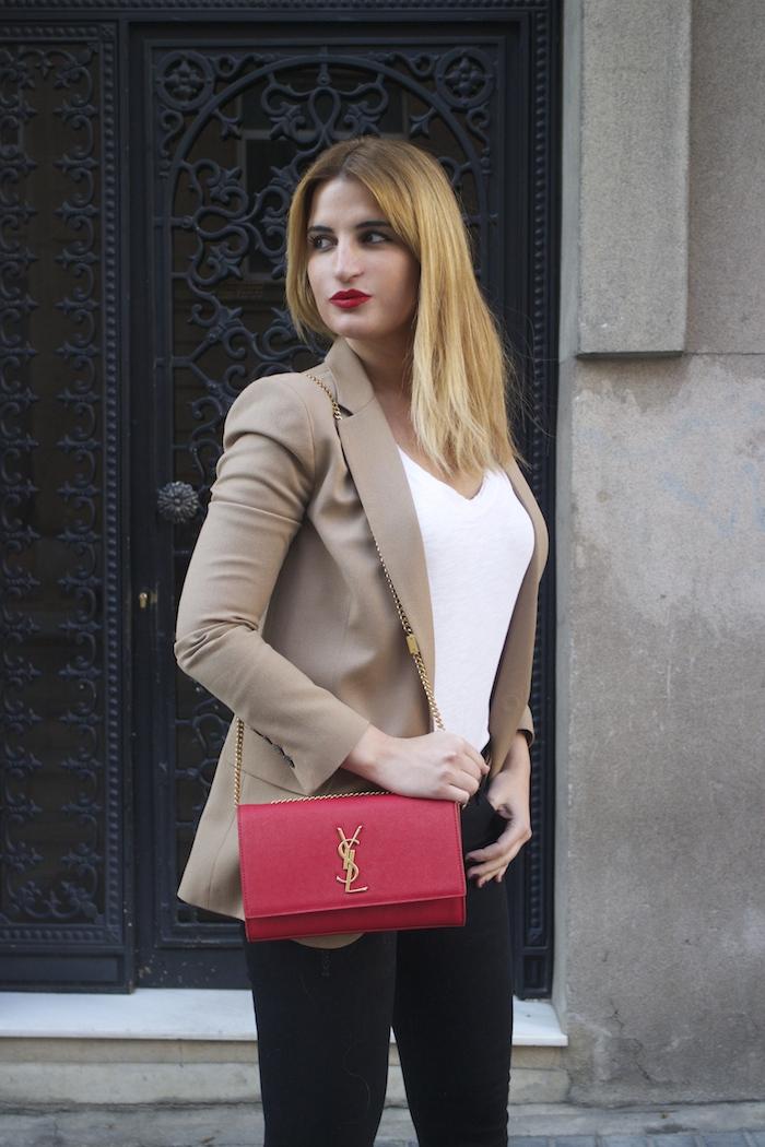 yves saint laurent bag camel blazer zara amaras la moda Paula Fraile6